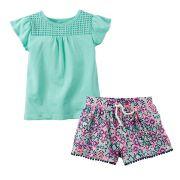 Conjunto Blusinha Turquesa e Shorts Colorido | CARTER'S