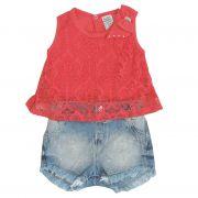Conjunto Body Coral e Shorts Jeans | SONHO MAGICO