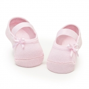 Meia Sapatilha Lacinho Rosa Bebê (0-12 meses) | PUKET