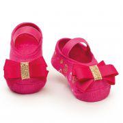 Meia Sapatilha Laço Rosa Flúor Dourado (0-12 meses) | PUKET