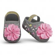 Meia Sapatilha Mescla Flor Rosa (0-12 meses) | PUKET