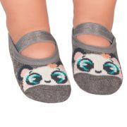 Meia Sapatilha Panda Cinza Mescla (0-12 meses) | PUKET