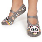 Meia Sapatilha Panda Cinza Mescla (2-5 anos) | PUKET