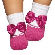 Meia Soquete com Aplique de Laço Pink (0-12 meses) | PUKET
