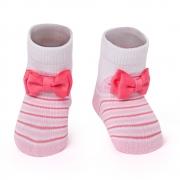 Meia Soquete com Aplique Listras Laço Rosa (0-12 meses) | PUKET