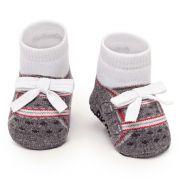 Meia Tênis Antiderrapante Cinza Vermelho (0-12 meses) | PUKET
