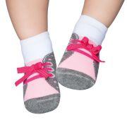 Meia Tênis Antiderrapante Cinza e Rosa (0-12 meses) | PUKET