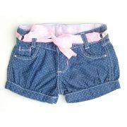 Short Poá Jeans com cinto Rosa | CLUBE DOCE