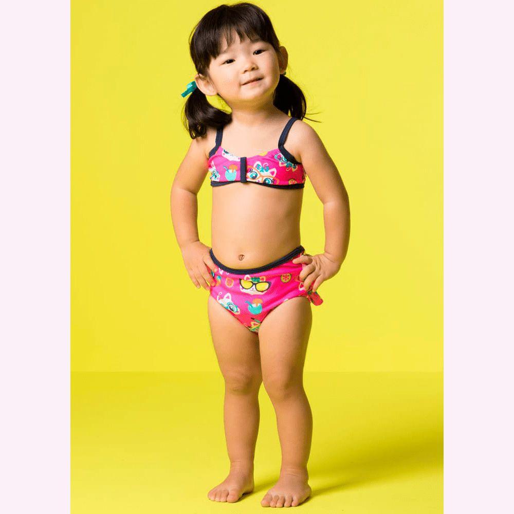 Biquíni Baby Babadinhos Gatinha Rosa Flúor | PUKET