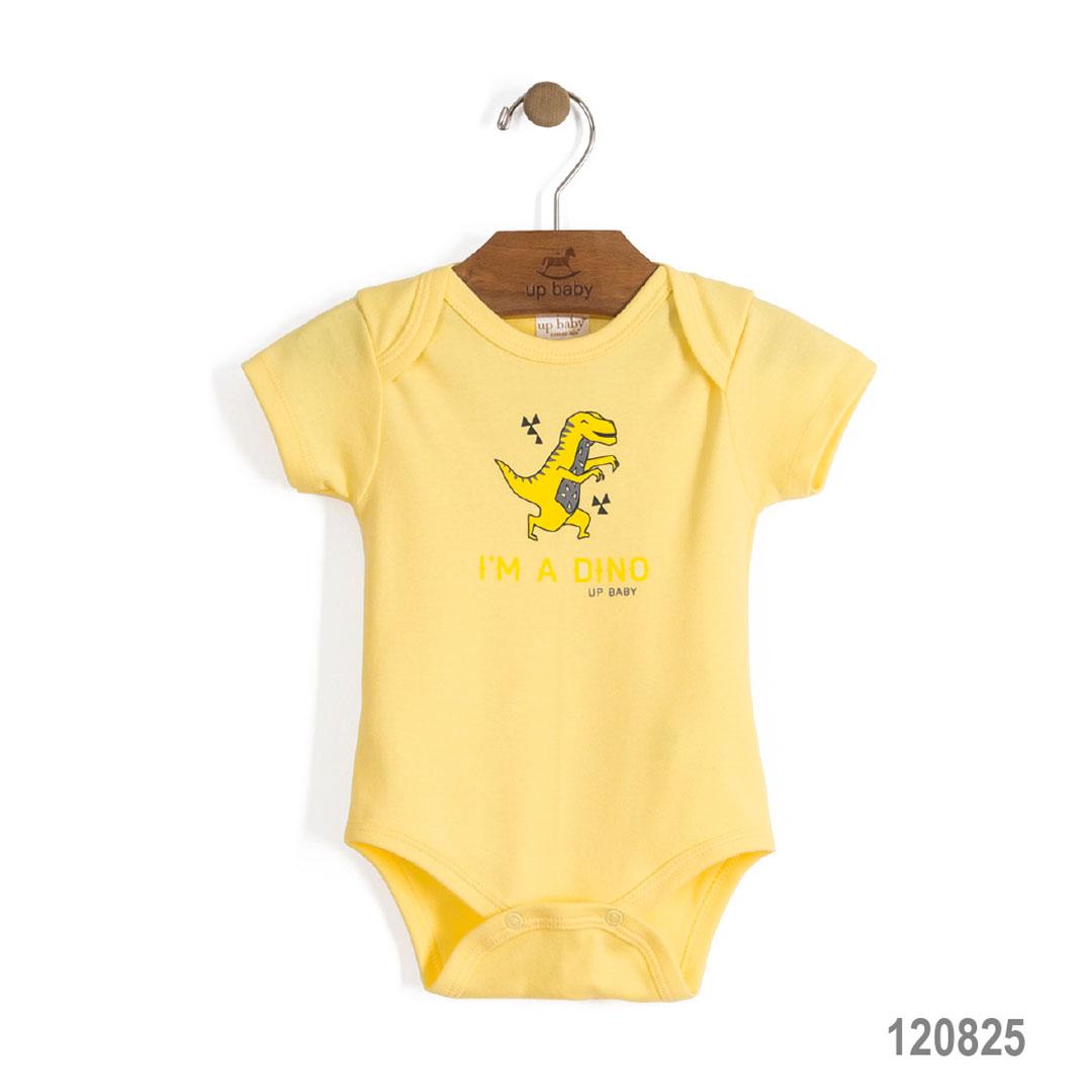 Body Manga Curta Amarelo Dino | UP BABY