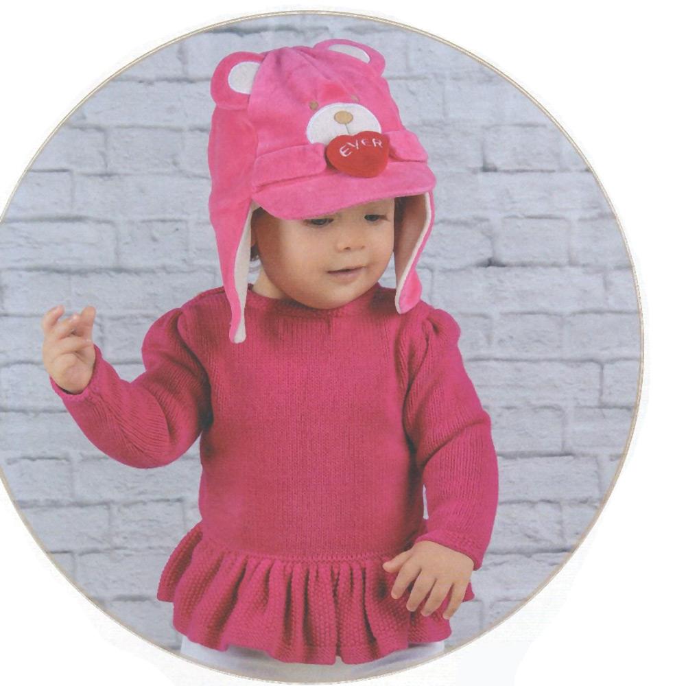 Boné Gorro Touca de Plush com Orelha Ursinha Pink (7-24 meses)   EVERLY
