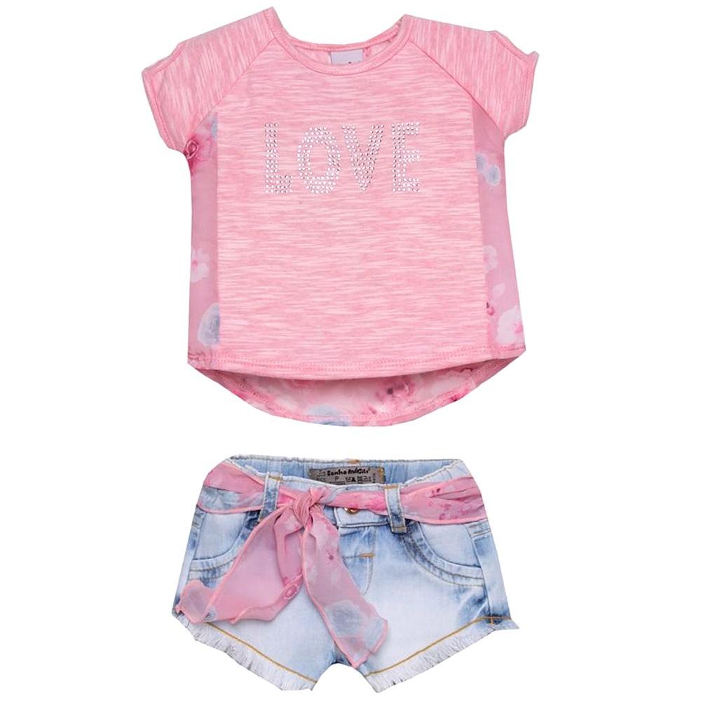 Conjunto Tecido Love Blusinha Goiaba e Shorts Jeans | SONHO MÁGICO
