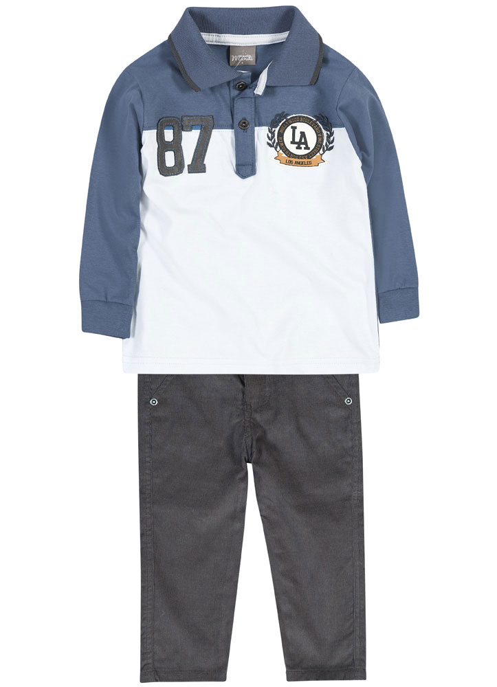 Conjunto Camisa Polo e Calça Veludo   BRANDILI