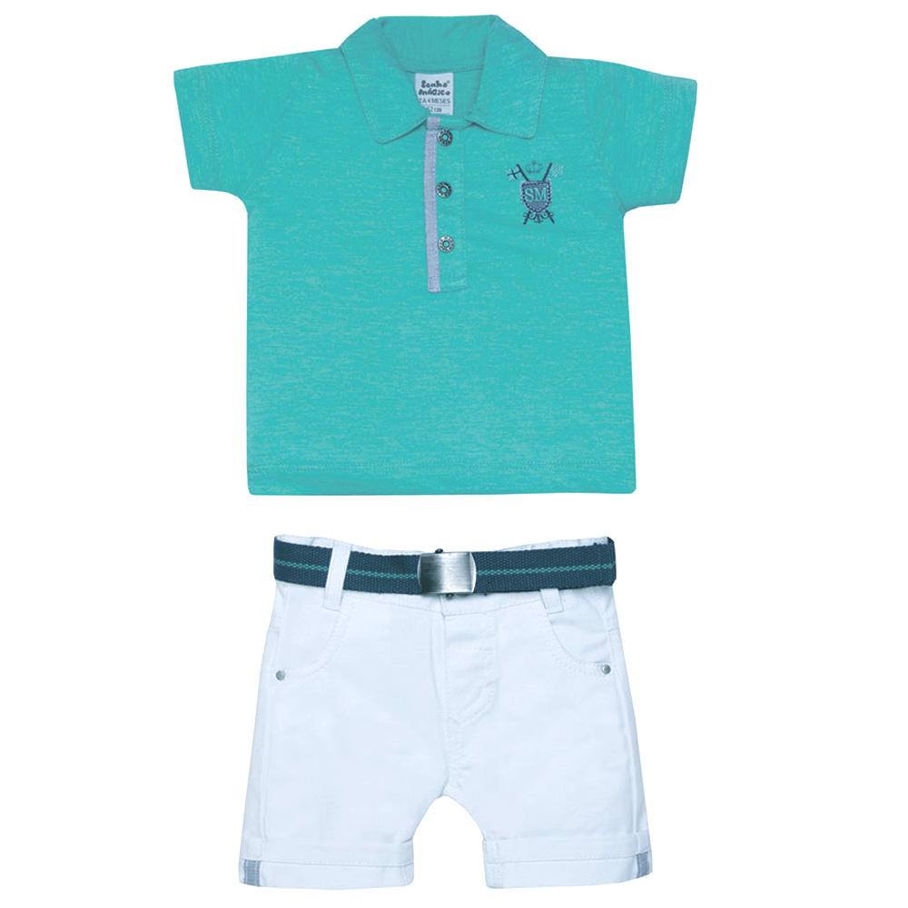 Conjunto Polo Shorts Branco e Cinto | SONHO MÁGICO