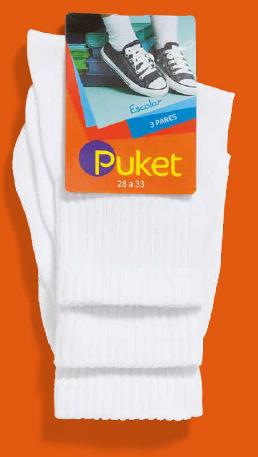 Kit 3 pares Meia Soquete Branca Escolar (2-5 anos) | PUKET