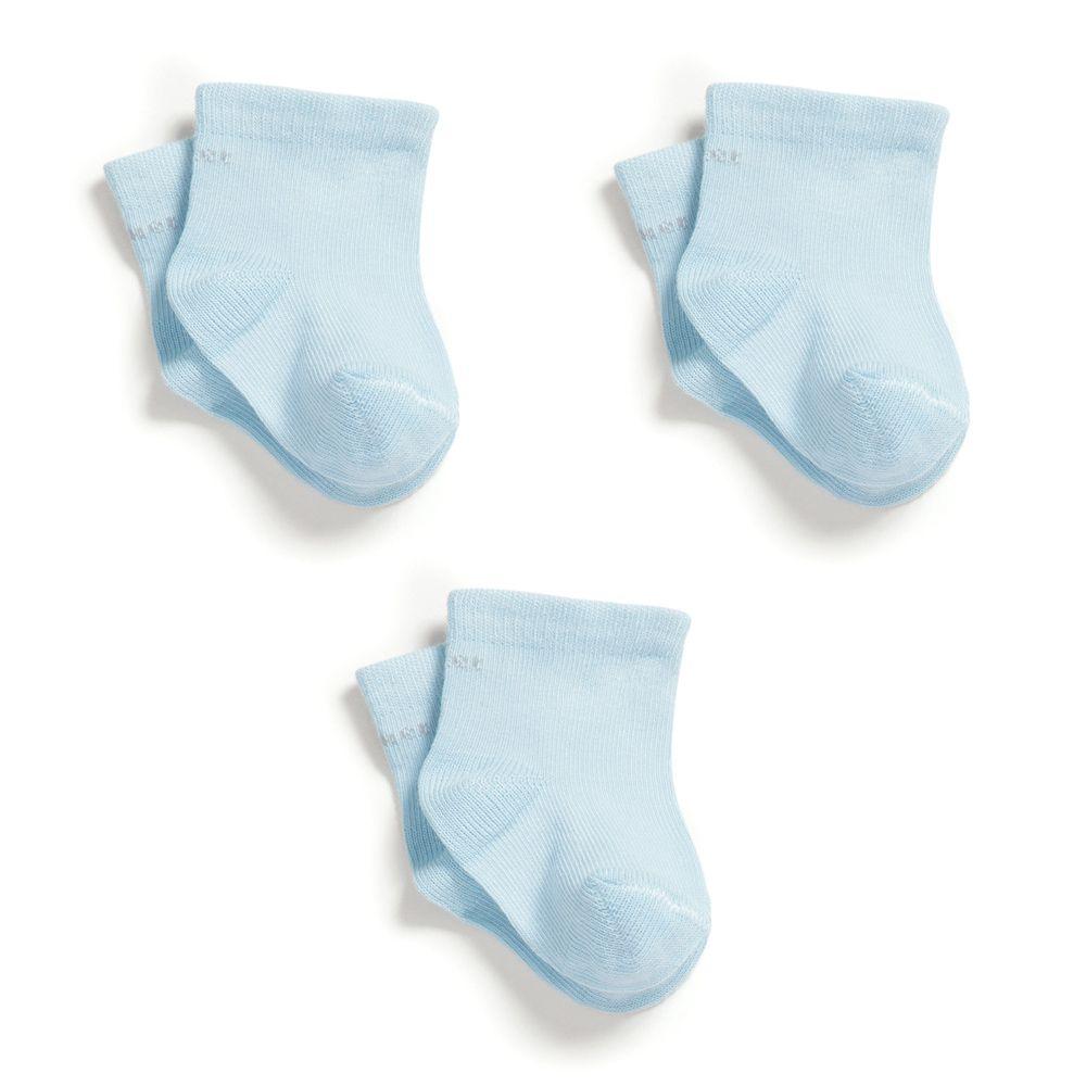 Kit 3 pares Meia Soquete Lisa Azul (0-12 meses) | PUKET