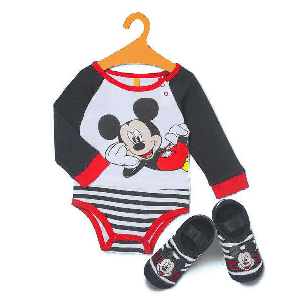 Kit Body Manga Longa e Meia Sapatilha Mickey | PUKET