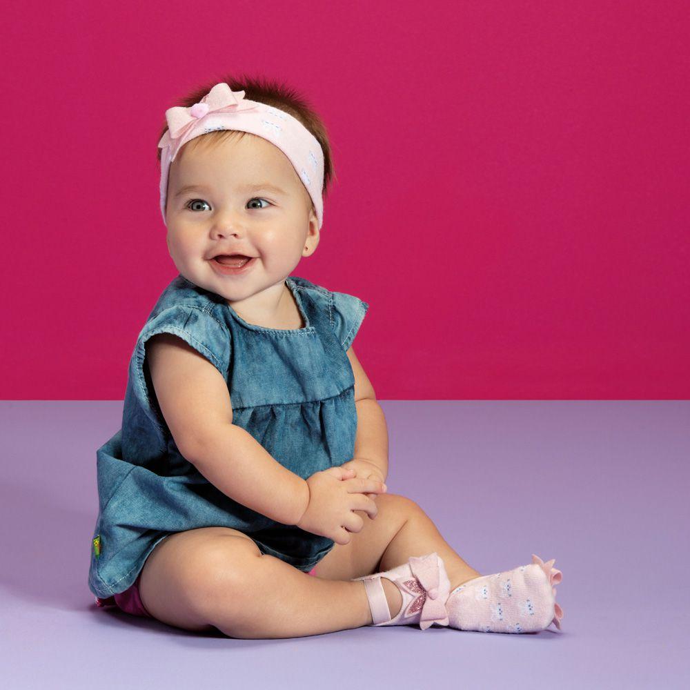 Kit Faixa de Cabelo e Sapatilha Coelhinha Rosa (0-12 meses) | PUKET