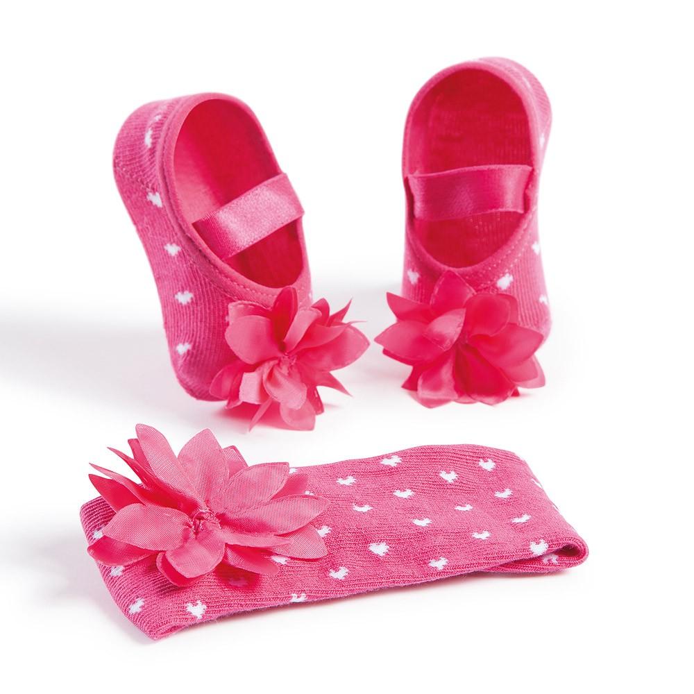 Kit Faixa de Cabelo e Sapatilha Flor Pink (0-12 meses)   PUKET