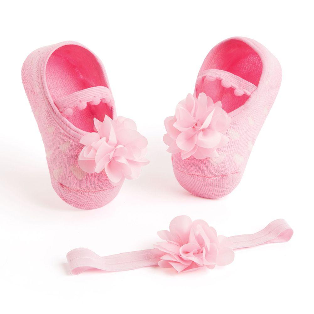 Kit Faixa de Cabelo e Sapatilha Flor Rosa (0-12 meses) | PUKET