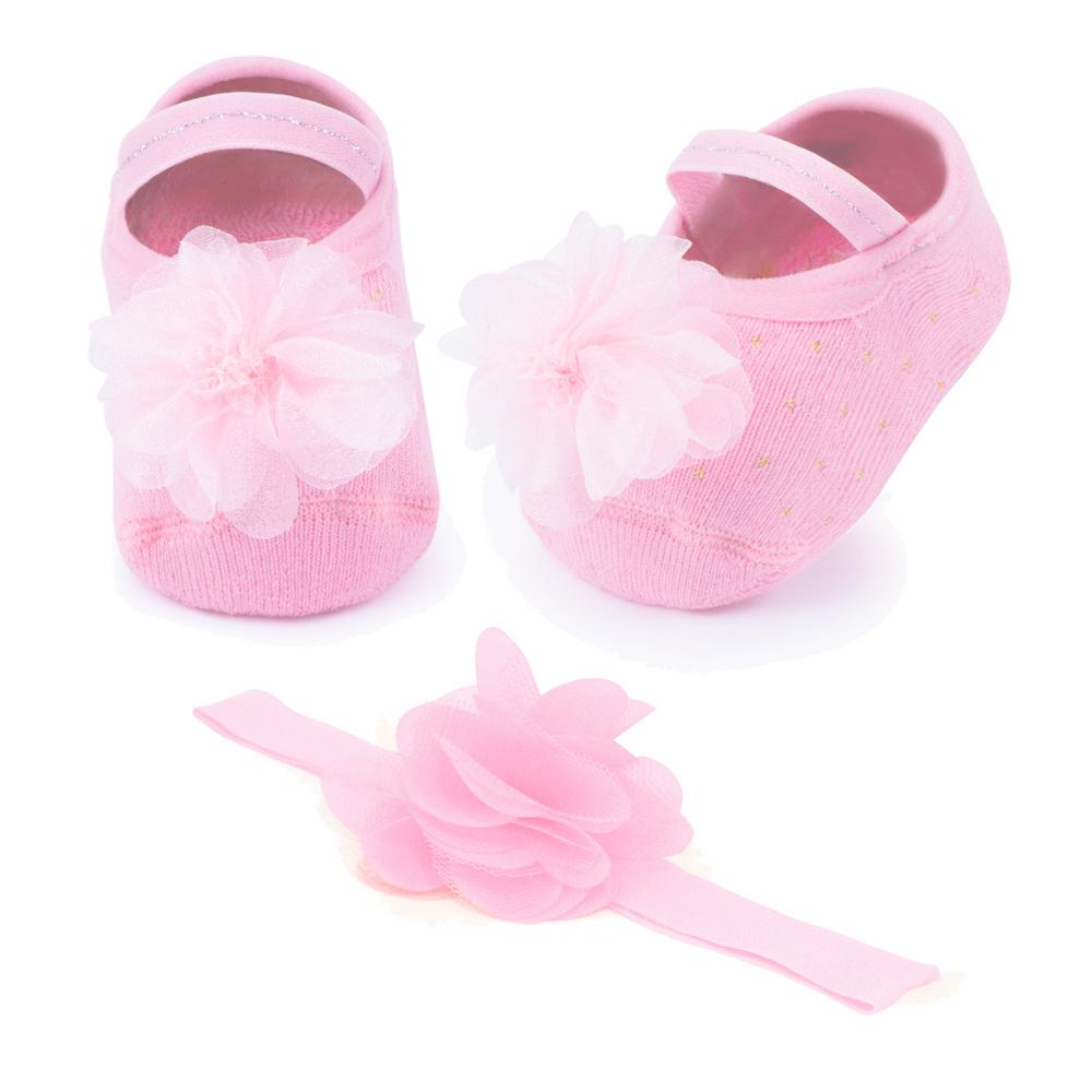 Kit Faixa de Cabelo e Sapatilha Flor Rosa Bebê (0-12 meses)   PUKET