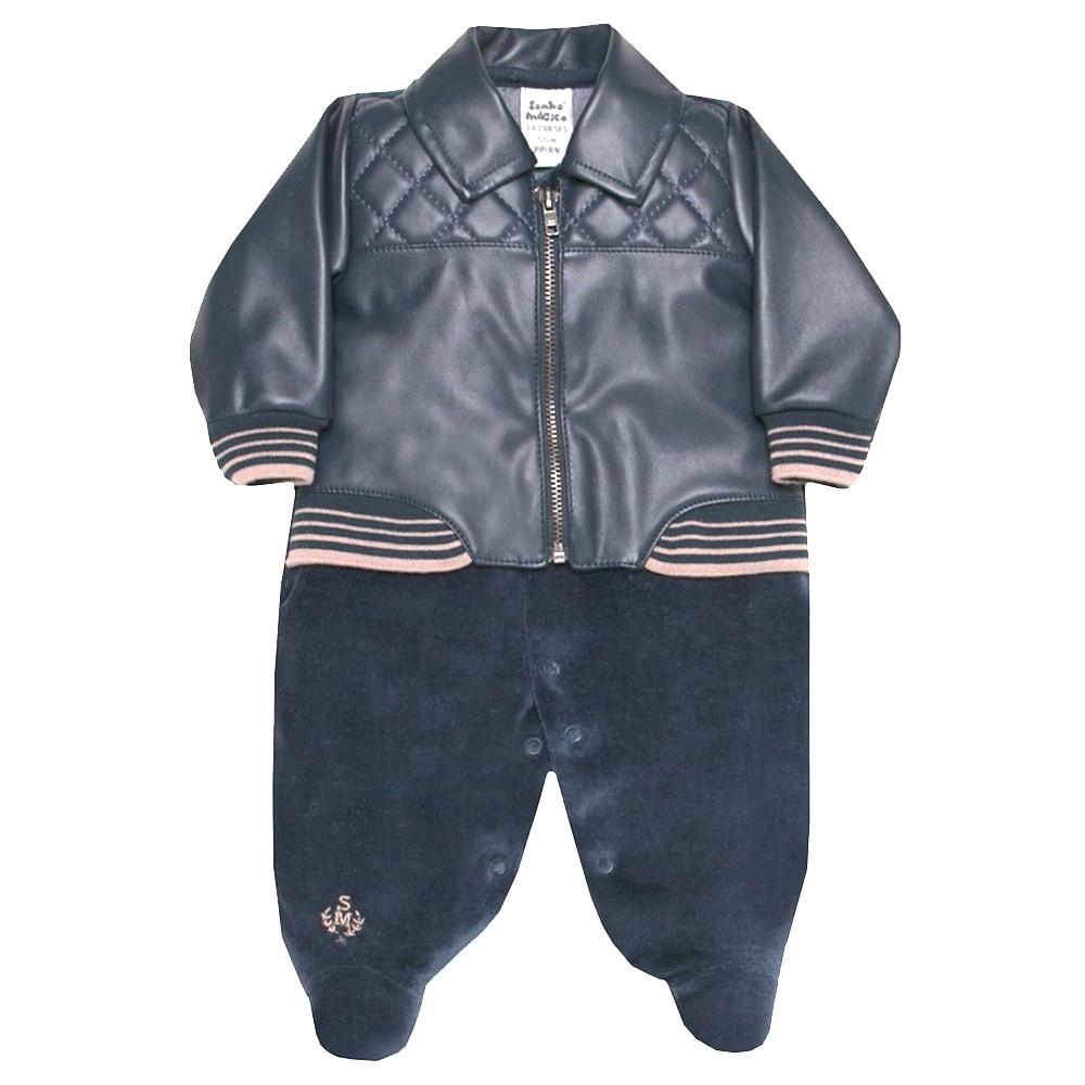 Macacão Longo de Plush Leather Marinho | SONHO MAGICO
