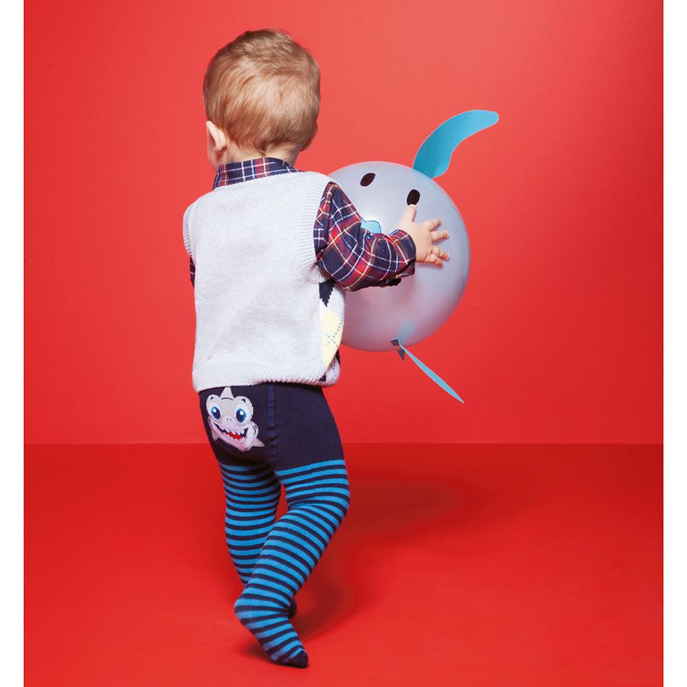Meia Calça Minhoquinho Azul Marinho Tubarão (0-12 meses) | PUKET