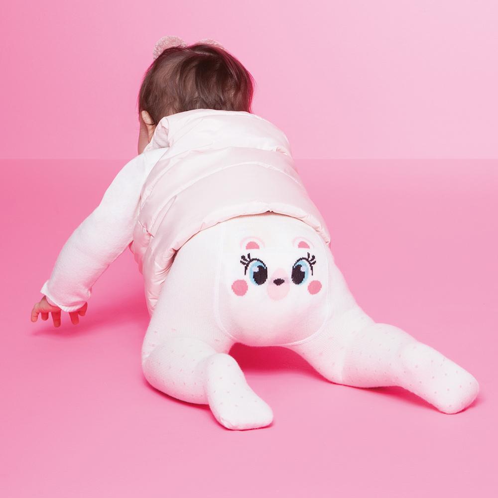Meia Calça Legging Baby Off White Fofinha (1-3 anos)   PUKET