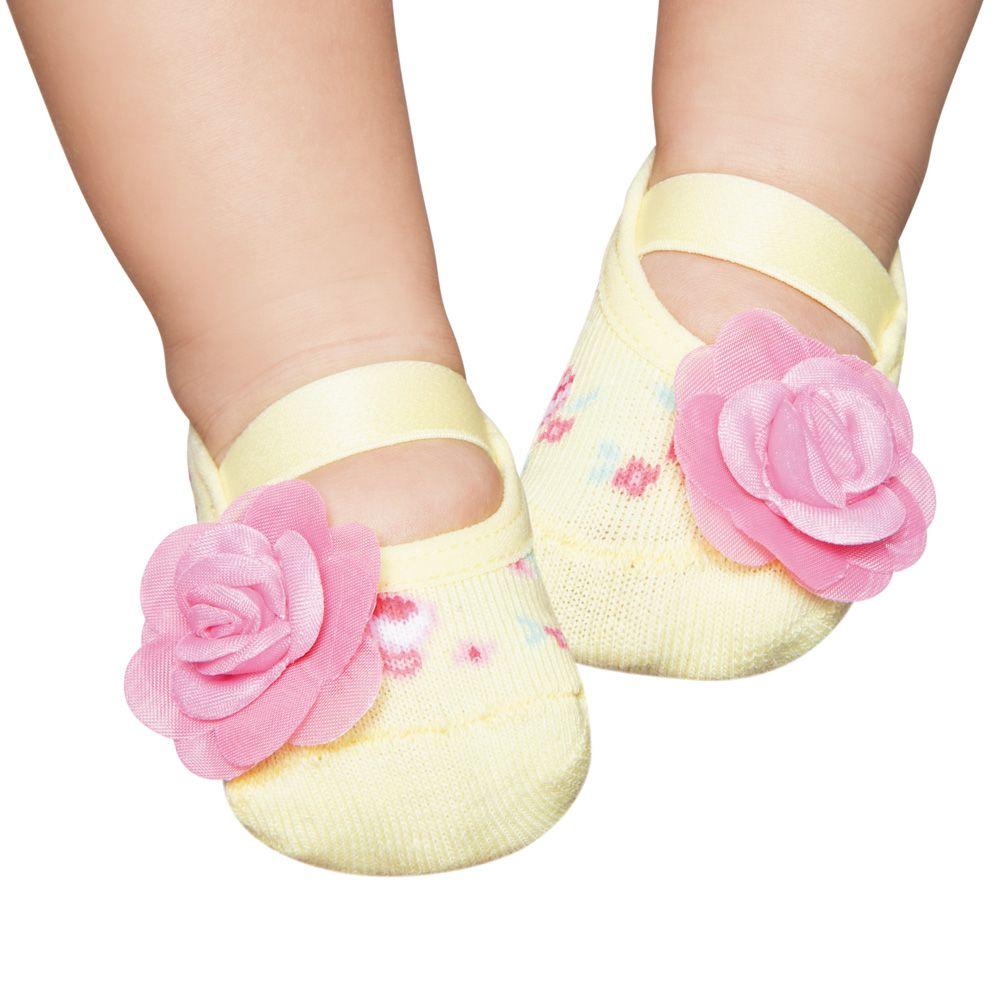 Meia Sapatilha Amarela Flor Rosa (0-12 meses) | PUKET