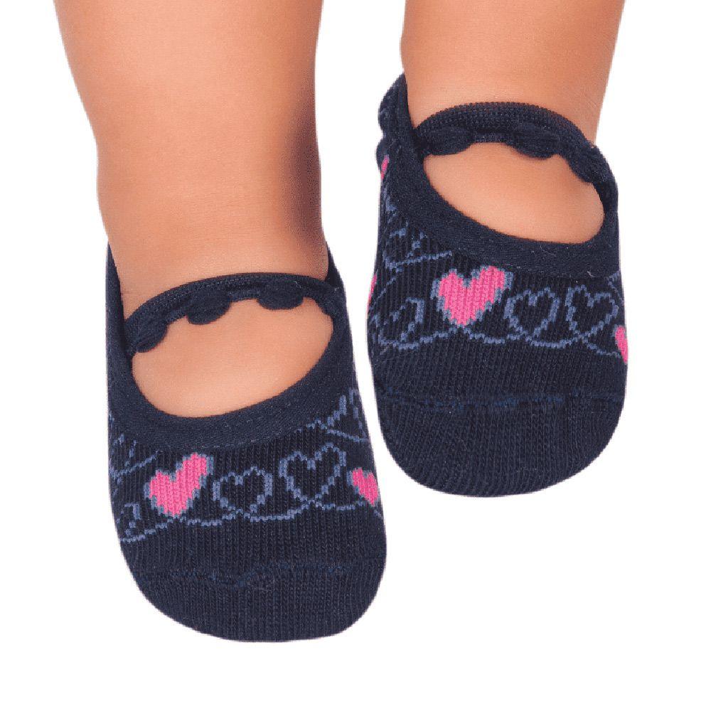 Meia Sapatilha Corações Marinho (0-12 meses) | PUKET