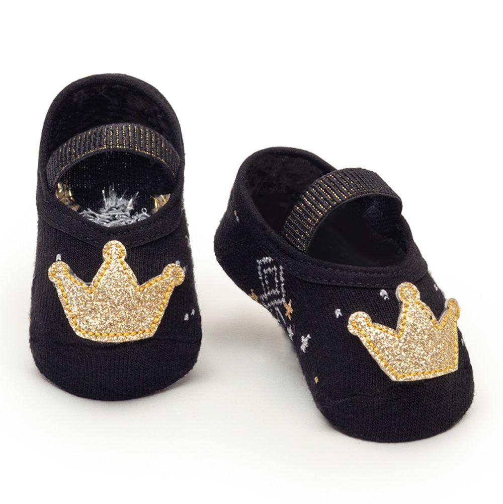 Meia Sapatilha Coroa Dourada Preto (0-12 meses) | PUKET