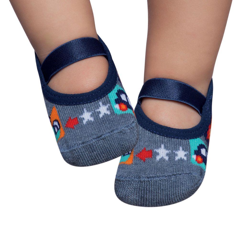 Meia Sapatilha Estrela Azul Jeans (0-12 meses) | PUKET