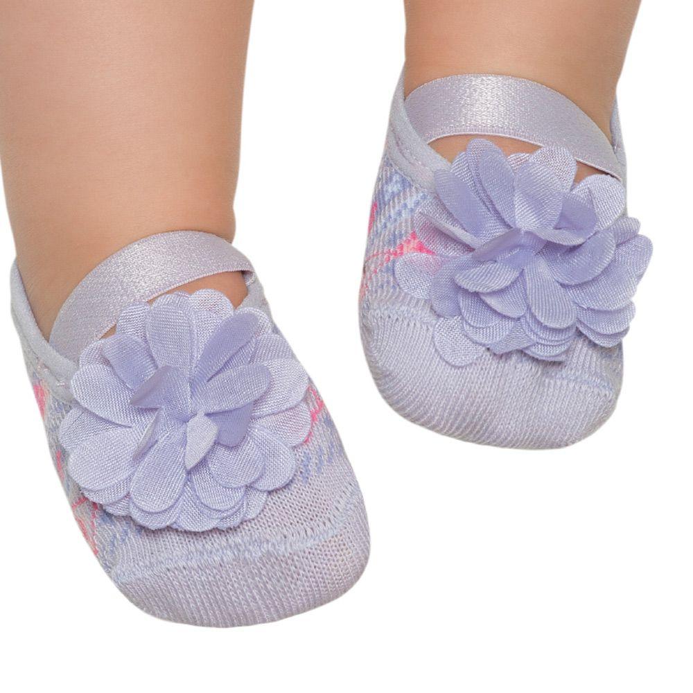 Meia Sapatilha Flor Lilás B (0-12 meses)   PUKET