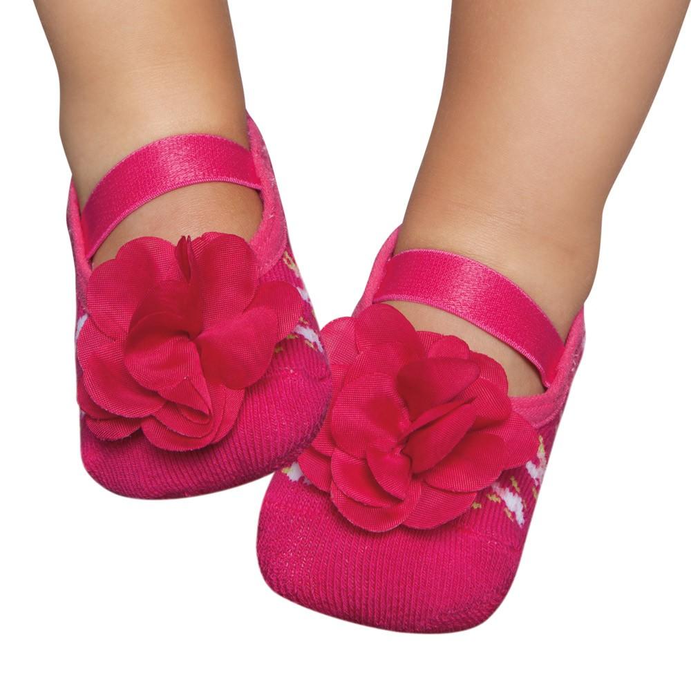 Meia Sapatilha Flor Pink (1-2 anos) | PUKET
