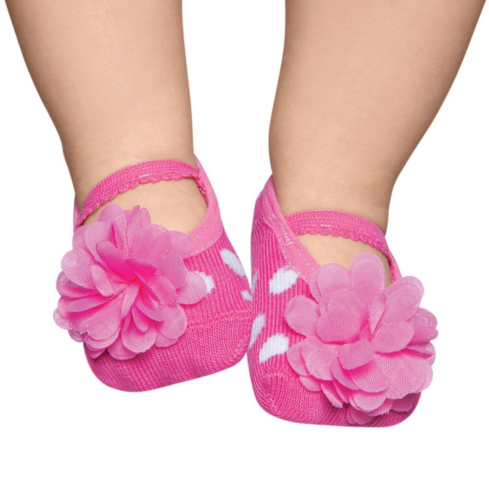 Meia Sapatilha Flor Rosa Flúor (0-12 meses) | PUKET
