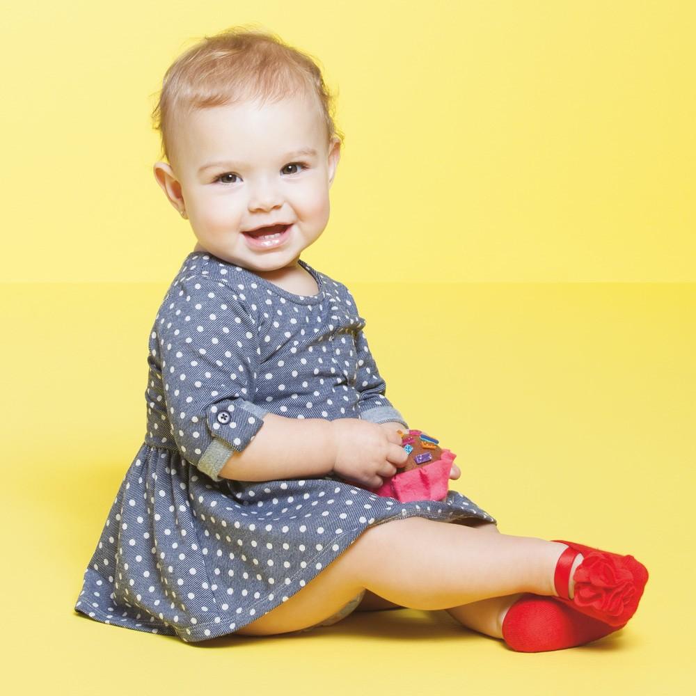 Meia Sapatilha Flor Vermelho (0-12 meses)   PUKET
