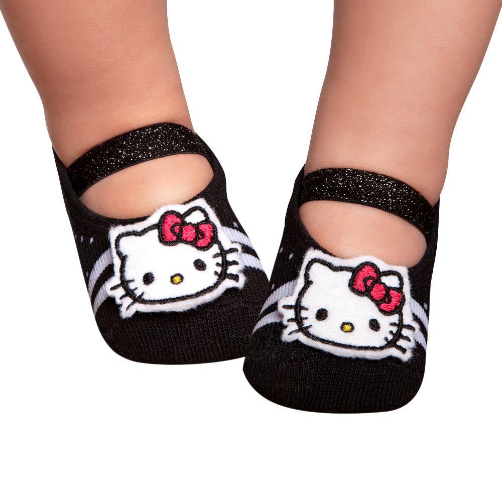Meia Sapatilha Hello Kitty Preta (0-12 meses) | PUKET