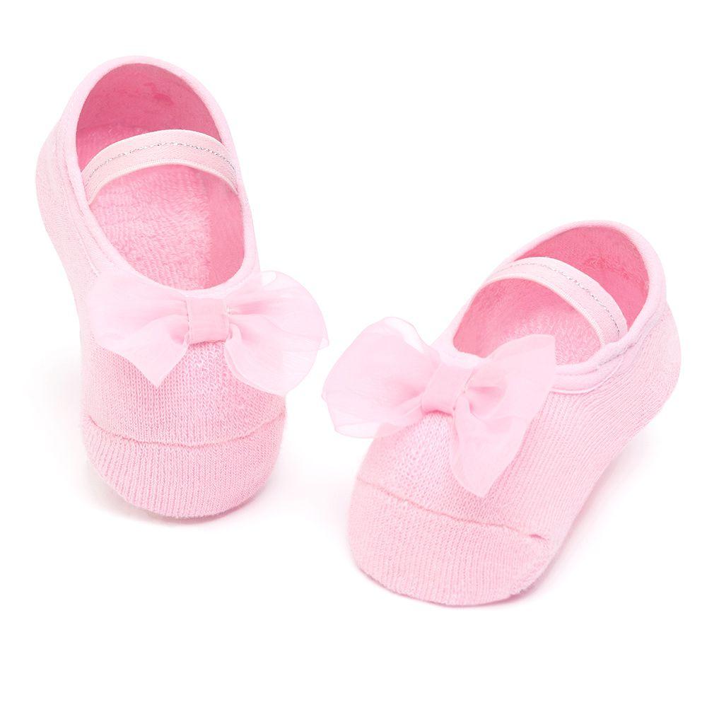 Meia Sapatilha Laço Rosa (12-24 meses) | PUKET