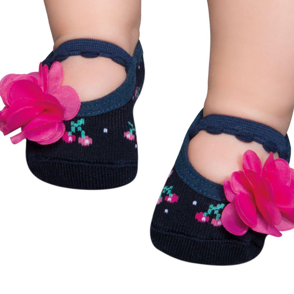 Meia Sapatilha Marinho Flor Pink (0-12 meses) | PUKET