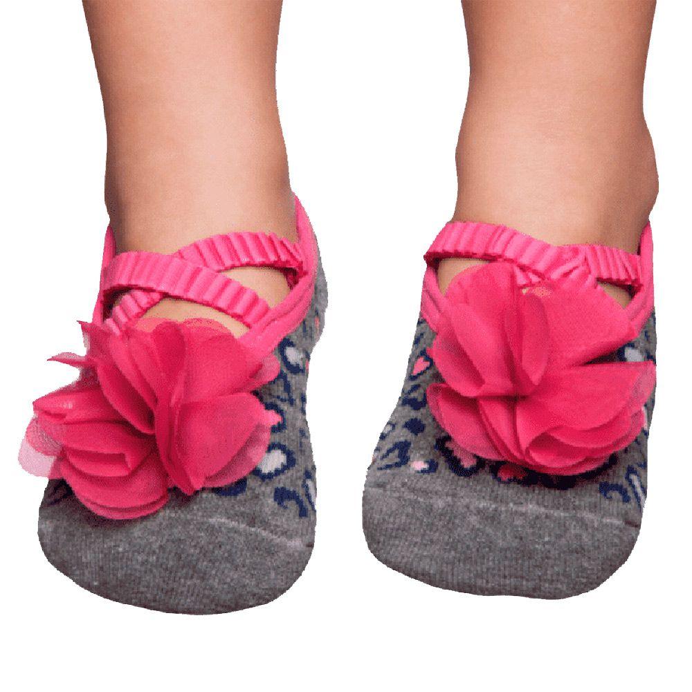Meia Sapatilha Mescla Flor Pink (2-5 anos) | PUKET