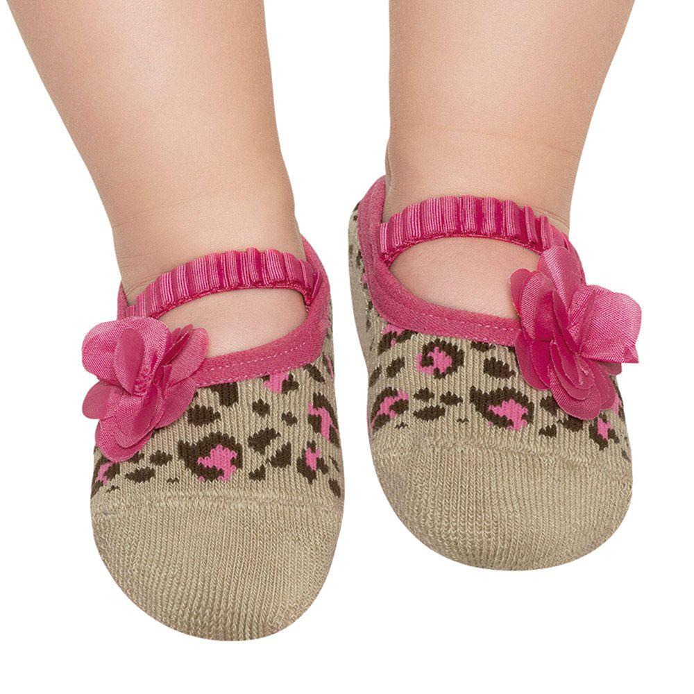 Meia Sapatilha Oncinha Bege Flor Pink (12-24 meses) | PUKET