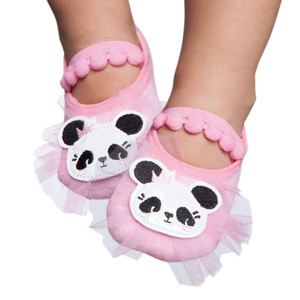 Meia Sapatilha Panda Rosa Bala (12-24 meses) | PUKET
