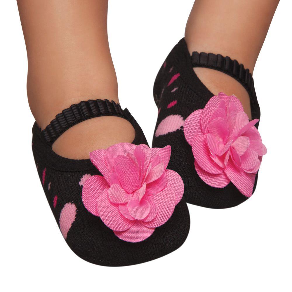Meia Sapatilha Preta Flor Rosa 2 (12-24 meses) | PUKET