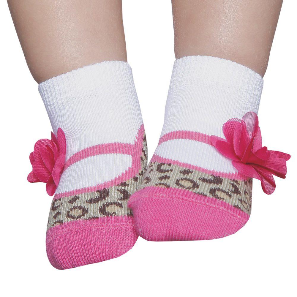 Meia Soquete com Aplique Oncinha Flor Pink (0-12 meses) | PUKET