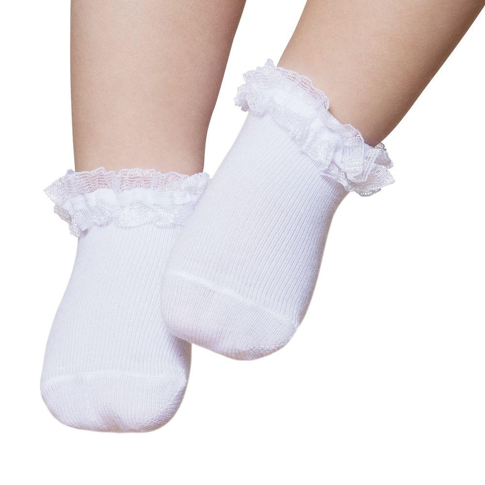 Meia Soquete Festa Renda Branco (12-24 meses) | PUKET