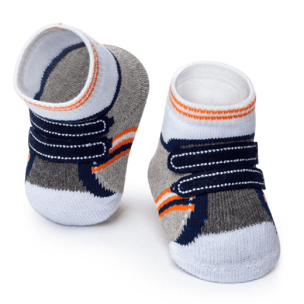 Meia Tênis Antiderrapante Cinza Velcro (0-12 meses) | PUKET