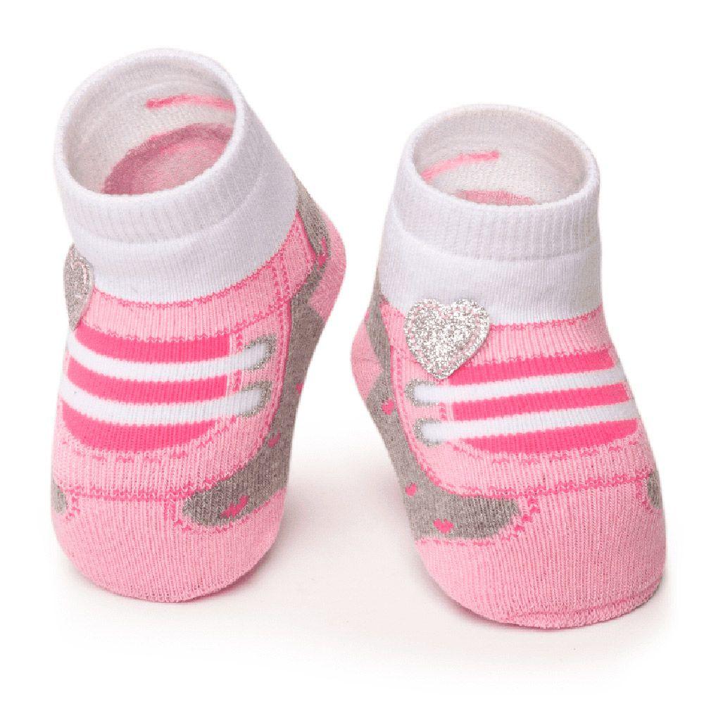 Meia Tênis Antiderrapante Rosa Coração (0-12 meses) | PUKET