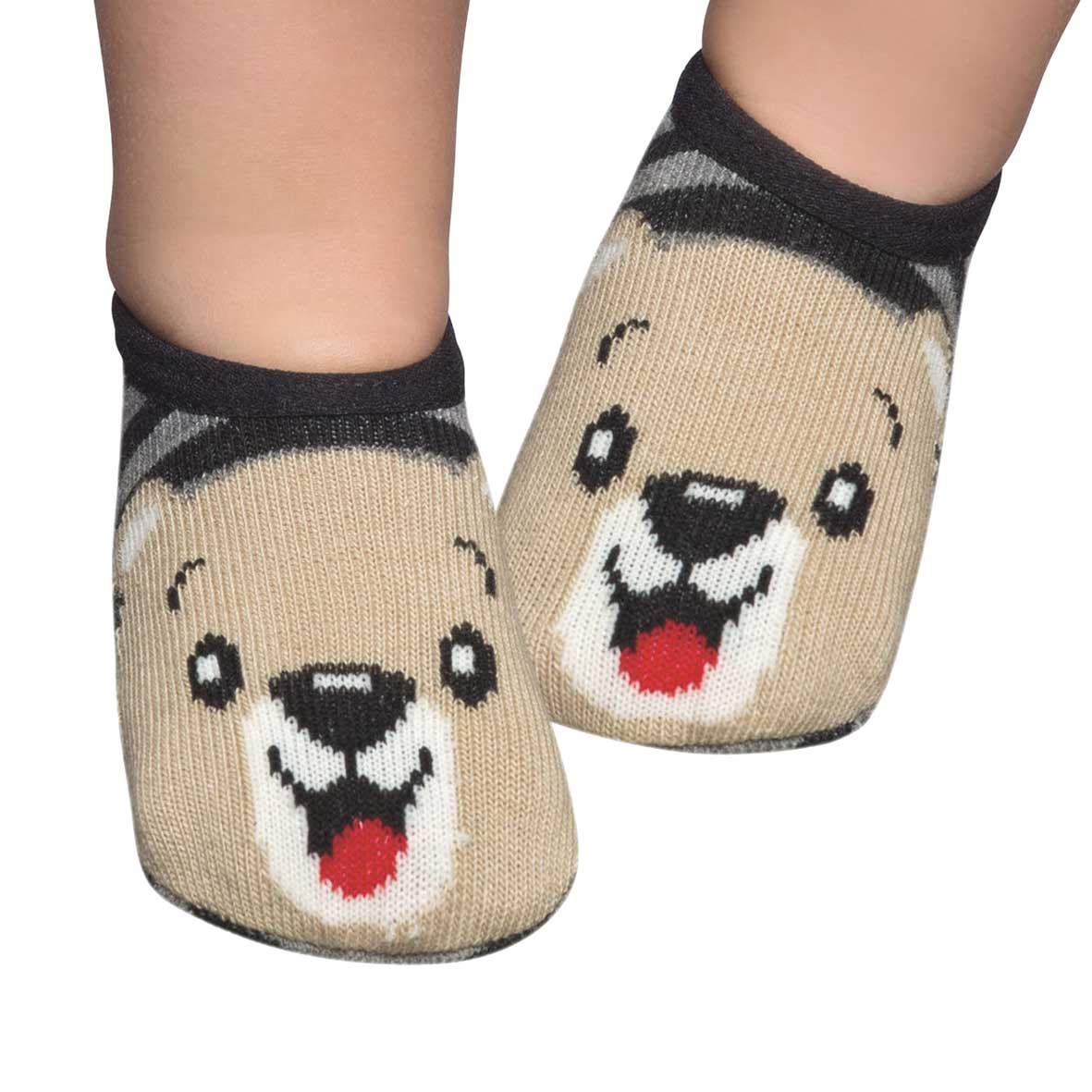 Meia Sapatilha Mescla Urso Bege (0-12 meses)   PUKET