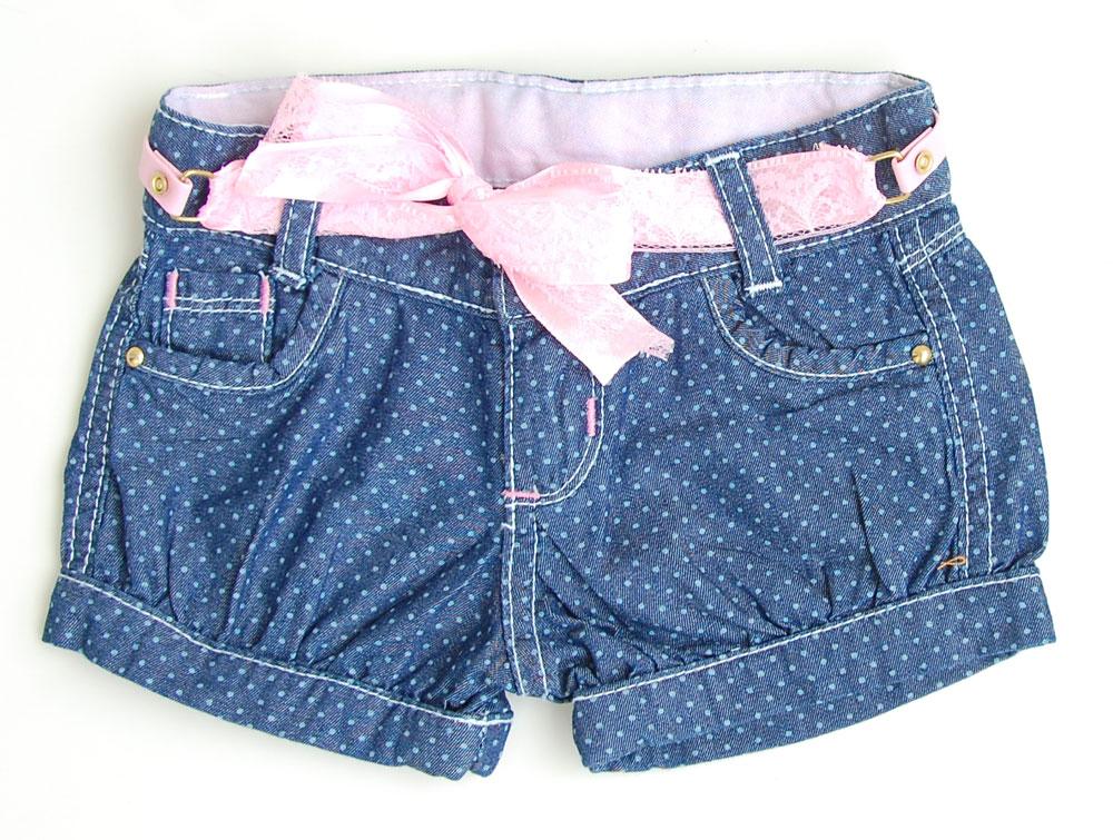 Short Poá Jeans com cinto Rosa   CLUBE DOCE