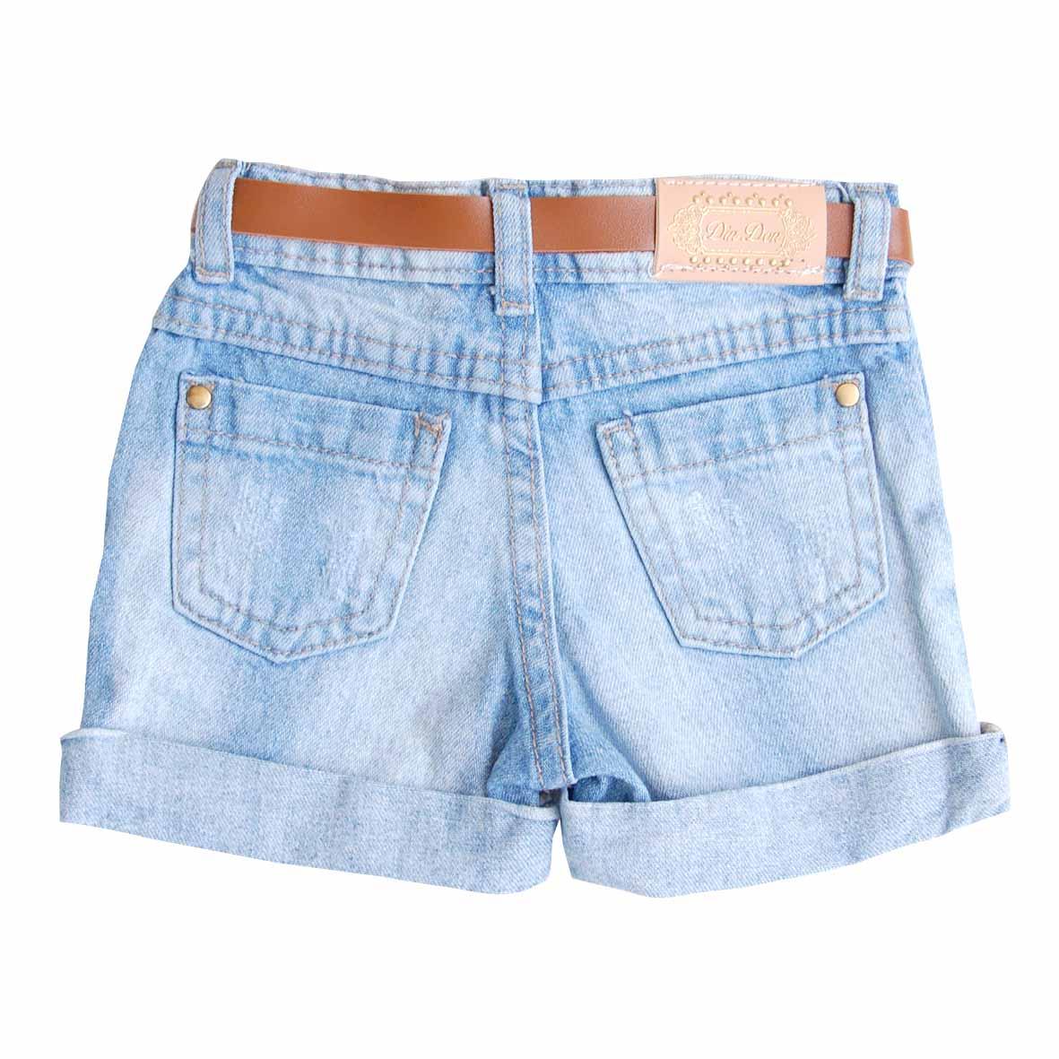 Shorts Menina Jeans com cinto   DIN DON